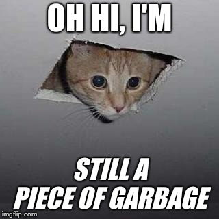 Ceiling Cat | OH HI, I'M STILL A PIECE OF GARBAGE | image tagged in memes,ceiling cat | made w/ Imgflip meme maker