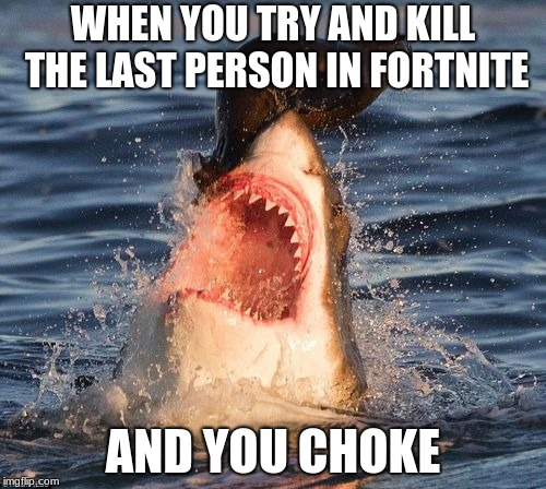 Travelonshark | WHEN YOU TRY AND KILL THE LAST PERSON IN FORTNITE AND YOU CHOKE | image tagged in memes,travelonshark | made w/ Imgflip meme maker
