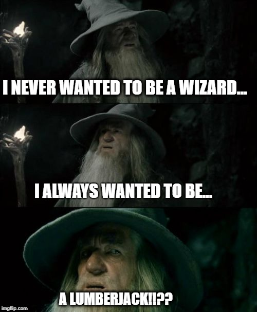 IT'S NEVER TOO LATE.... | I NEVER WANTED TO BE A WIZARD… I ALWAYS WANTED TO BE… A LUMBERJACK!!?? | image tagged in memes,confused gandalf,monty python,lumberjack,lord of the rings | made w/ Imgflip meme maker