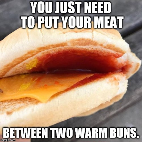 YOU JUST NEED TO PUT YOUR MEAT BETWEEN TWO WARM BUNS. | image tagged in mc nothing burger | made w/ Imgflip meme maker
