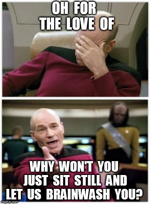 Picard frustrated | OH  FOR  THE  LOVE  OF WHY  WON'T  YOU  JUST  SIT  STILL  AND  LET  US  BRAINWASH  YOU? | image tagged in picard frustrated | made w/ Imgflip meme maker