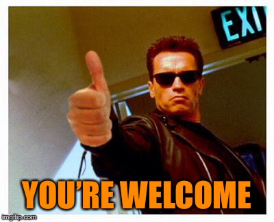 terminator thumbs up | YOU'RE WELCOME | image tagged in terminator thumbs up | made w/ Imgflip meme maker