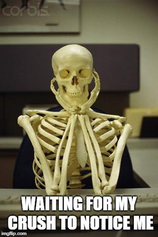 Waiting Skeleton | WAITING FOR MY CRUSH TO NOTICE ME | image tagged in waiting skeleton | made w/ Imgflip meme maker