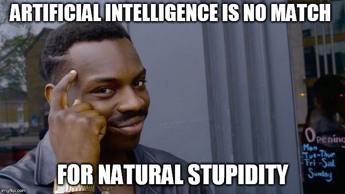 Roll Safe Think About It Meme | ARTIFICIAL INTELLIGENCE IS NO MATCH FOR NATURAL STUPIDITY | image tagged in memes,roll safe think about it | made w/ Imgflip meme maker