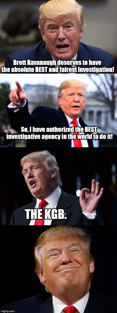 The Trump / Kavanaugh Investigation | Brett Kavanaugh deserves to have the absolute BEST and fairest investigation! So, I have authorized the BEST investigative agency in the wor | image tagged in trump meme,donald trump,brett kavanaugh,supreme court,kavanaugh,russia | made w/ Imgflip meme maker