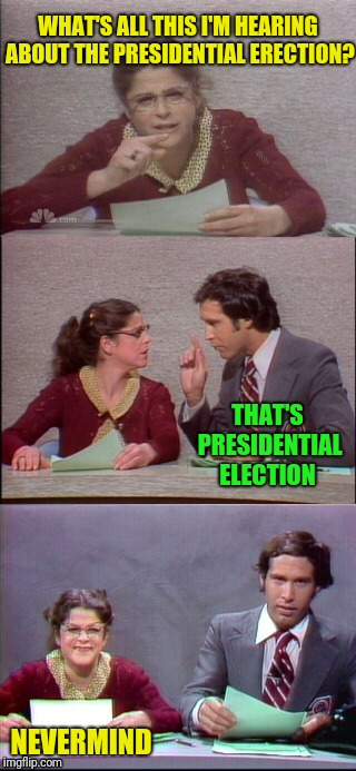 WHAT'S ALL THIS I'M HEARING ABOUT THE PRESIDENTIAL ERECTION? NEVERMIND THAT'S PRESIDENTIAL ELECTION | made w/ Imgflip meme maker