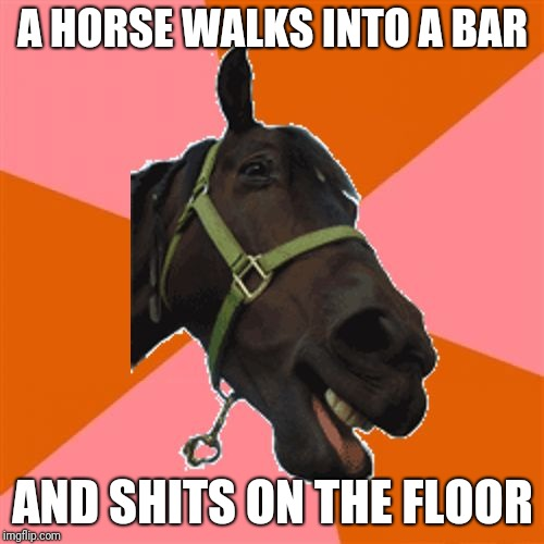 Anti-Joke Horse | A HORSE WALKS INTO A BAR AND SHITS ON THE FLOOR | image tagged in anti-joke horse | made w/ Imgflip meme maker