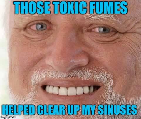 harold smiling | THOSE TOXIC FUMES HELPED CLEAR UP MY SINUSES | image tagged in harold smiling | made w/ Imgflip meme maker