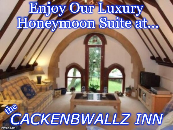 Bad Construction Week: Oct. 1-7. A DrSarcasm Event | Enjoy Our Luxury Honeymoon Suite at... CACKENBWALLZ INN the | image tagged in bad construction week,drsarcasm | made w/ Imgflip meme maker