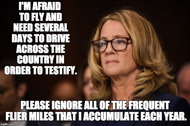 Christine Ford | I'M AFRAID TO FLY AND NEED SEVERAL DAYS TO DRIVE ACROSS THE COUNTRY IN ORDER TO TESTIFY. PLEASE IGNORE ALL OF THE FREQUENT FLIER MILES THAT  | image tagged in christine ford | made w/ Imgflip meme maker