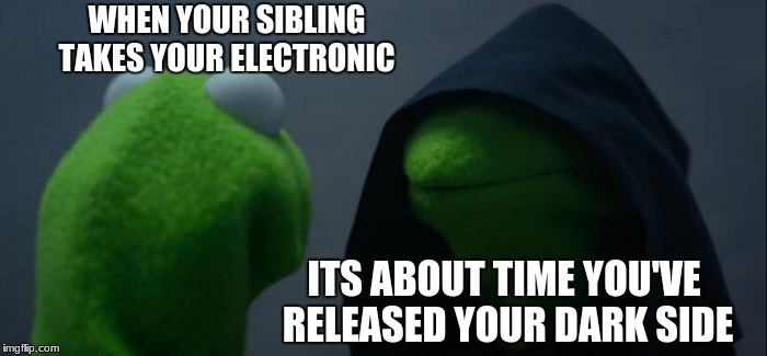 Evil Kermit Meme | WHEN YOUR SIBLING TAKES YOUR ELECTRONIC ITS ABOUT TIME YOU'VE RELEASED YOUR DARK SIDE | image tagged in memes,evil kermit | made w/ Imgflip meme maker