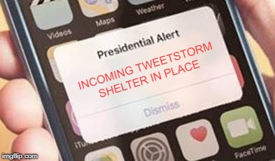 Presidential Alert | INCOMING TWEETSTORM SHELTER IN PLACE | image tagged in presidential alert | made w/ Imgflip meme maker