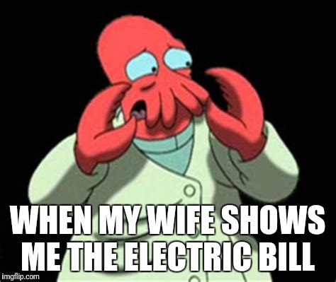 WHEN MY WIFE SHOWS ME THE ELECTRIC BILL | image tagged in futurama | made w/ Imgflip meme maker