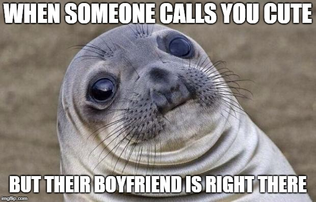 Awkward Moment Sealion Meme | WHEN SOMEONE CALLS YOU CUTE BUT THEIR BOYFRIEND IS RIGHT THERE | image tagged in memes,awkward moment sealion | made w/ Imgflip meme maker