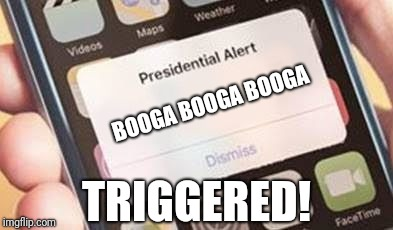 Presidential Alert | BOOGA BOOGA BOOGA TRIGGERED! | image tagged in presidential alert | made w/ Imgflip meme maker
