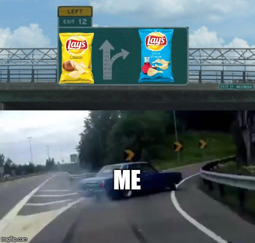 not sure how relatable this is, but whatever | ME | image tagged in memes,left exit 12 off ramp,chips,salt,lays | made w/ Imgflip meme maker
