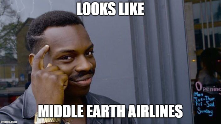 Roll Safe Think About It Meme | LOOKS LIKE MIDDLE EARTH AIRLINES | image tagged in memes,roll safe think about it | made w/ Imgflip meme maker