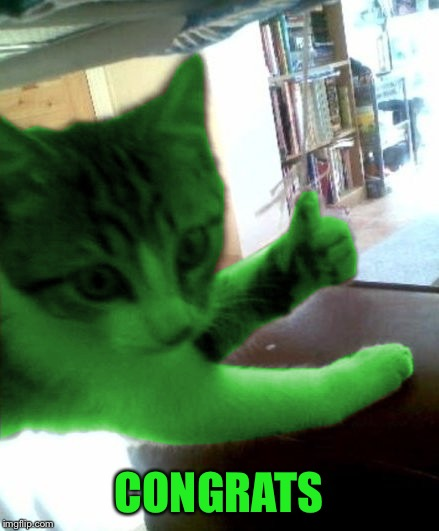 thumbs up RayCat | CONGRATS | image tagged in thumbs up raycat | made w/ Imgflip meme maker
