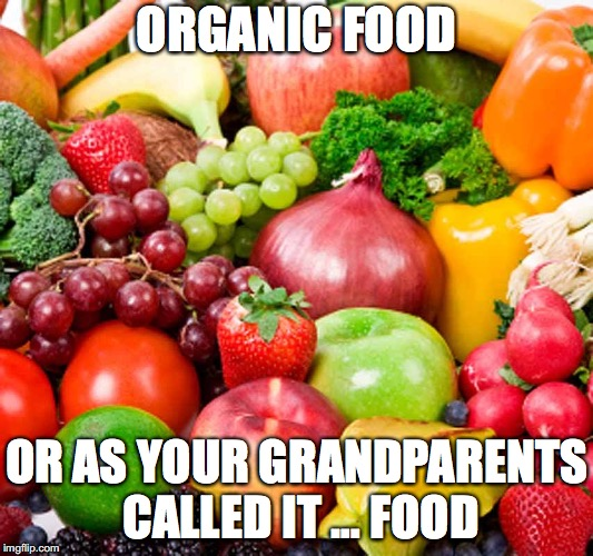 What should I eat? | ORGANIC FOOD OR AS YOUR GRANDPARENTS CALLED IT … FOOD | image tagged in organic food | made w/ Imgflip meme maker