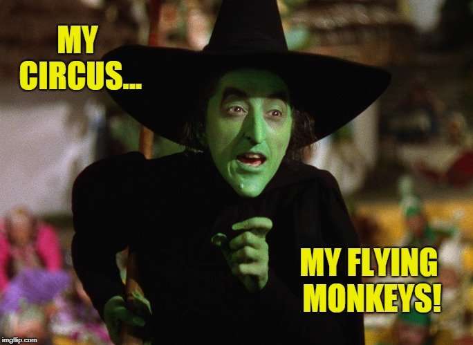 My Flying Monkeys! | MY CIRCUS... MY FLYING MONKEYS! | image tagged in the wizard of oz,funny,halloween,witch,work | made w/ Imgflip meme maker