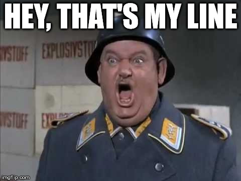 Sgt. Schultz shouting | HEY, THAT'S MY LINE | image tagged in sgt schultz shouting | made w/ Imgflip meme maker