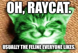 happy RayCat | OH, RAYCAT. USUALLY THE FELINE EVERYONE LIKES. | image tagged in happy raycat | made w/ Imgflip meme maker