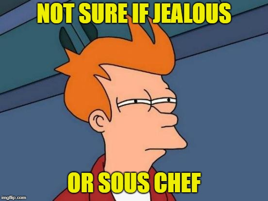 Futurama Fry Meme | NOT SURE IF JEALOUS OR SOUS CHEF | image tagged in memes,futurama fry | made w/ Imgflip meme maker