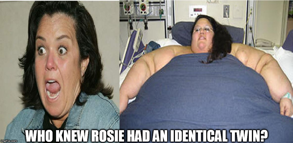 Rosie's long lost twin  Found at last! | WHO KNEW ROSIE HAD AN IDENTICAL TWIN? | image tagged in rosie o'donnell,lard,ass,identical,twin,who knew | made w/ Imgflip meme maker
