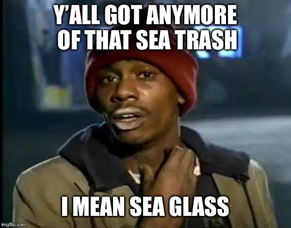 Y'all Got Any More Of That Meme | Y'ALL GOT ANYMORE OF THAT SEA TRASH I MEAN SEA GLASS | image tagged in memes,y'all got any more of that | made w/ Imgflip meme maker