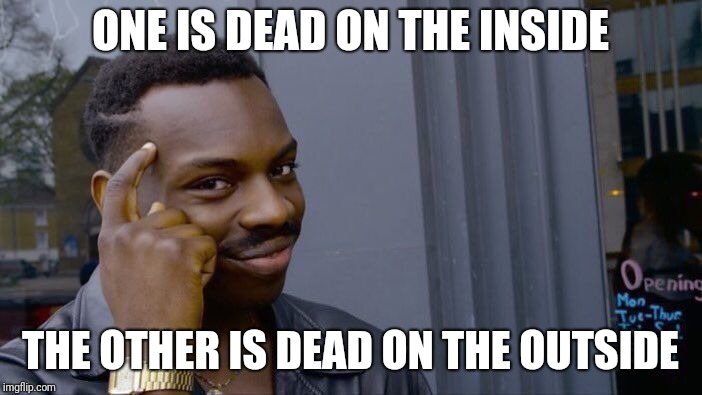 ONE IS DEAD ON THE INSIDE THE OTHER IS DEAD ON THE OUTSIDE | image tagged in memes,roll safe think about it | made w/ Imgflip meme maker