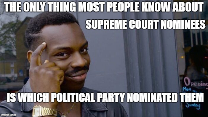Roll Safe Think About It Meme | THE ONLY THING MOST PEOPLE KNOW ABOUT SUPREME COURT NOMINEES IS WHICH POLITICAL PARTY NOMINATED THEM | image tagged in memes,roll safe think about it | made w/ Imgflip meme maker