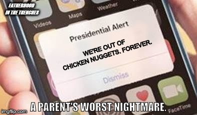 Game Over, Man! | WE'RE OUT OF CHICKEN NUGGETS. FOREVER. A PARENT'S WORST NIGHTMARE. FATHERHOOD IN THE TRENCHES | image tagged in presidential alert,chicken nuggets,parents,kids | made w/ Imgflip meme maker