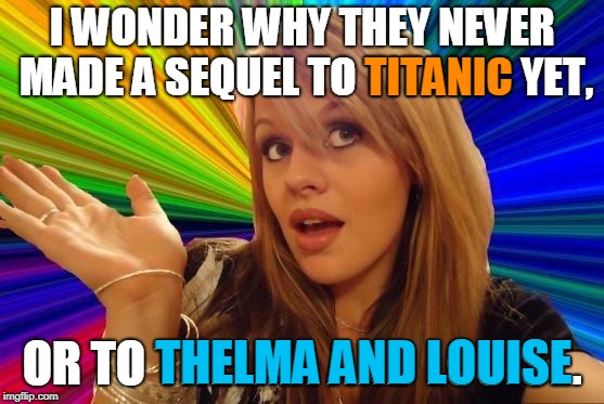 Dumb Blonde Meme | I WONDER WHY THEY NEVER MADE A SEQUEL TO TITANIC YET, OR TO THELMA AND LOUISE. TITANIC THELMA AND LOUISE | image tagged in memes,dumb blonde | made w/ Imgflip meme maker