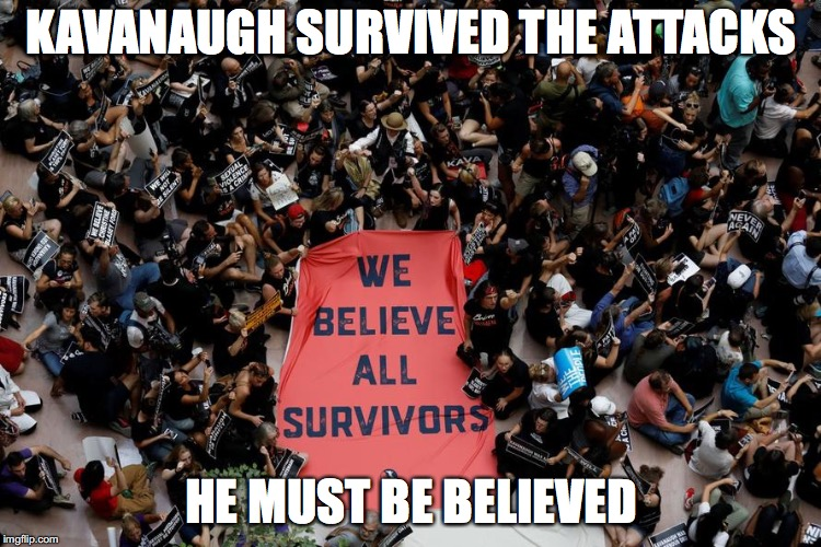 They said it, not me. | KAVANAUGH SURVIVED THE ATTACKS HE MUST BE BELIEVED | image tagged in survivors,kavanaugh | made w/ Imgflip meme maker