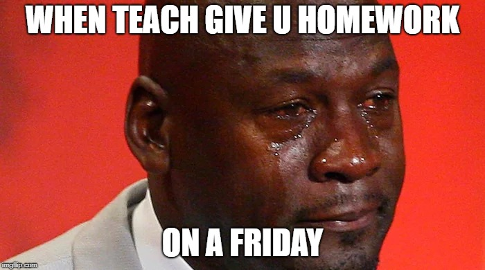 School issues | WHEN TEACH GIVE U HOMEWORK ON A FRIDAY | image tagged in school,oh god why | made w/ Imgflip meme maker