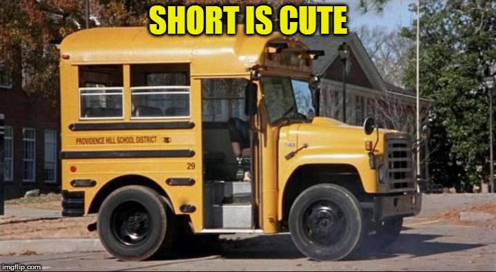 short bus | SHORT IS CUTE | image tagged in short bus | made w/ Imgflip meme maker