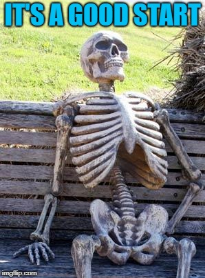 Waiting Skeleton Meme | IT'S A GOOD START | image tagged in memes,waiting skeleton | made w/ Imgflip meme maker