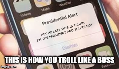 Presidential Alert | HEY HILLARY THIS IS TRUMP, I'M THE PRESIDENT AND YOU'RE NOT THIS IS HOW YOU TROLL LIKE A BOSS | image tagged in presidential alert | made w/ Imgflip meme maker