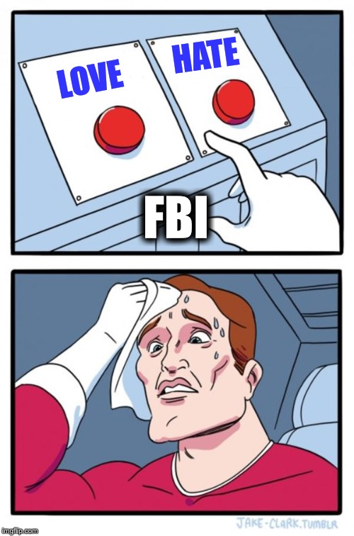 Two Buttons Meme | LOVE HATE FBI | image tagged in memes,two buttons | made w/ Imgflip meme maker