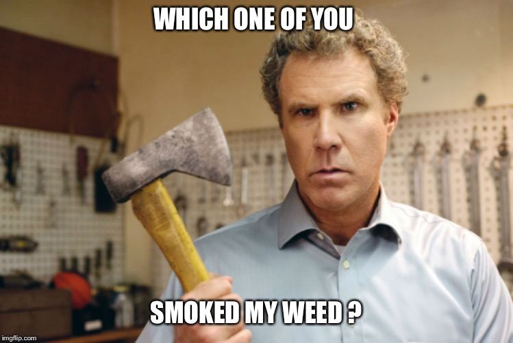 WHICH ONE OF YOU SMOKED MY WEED ? | image tagged in will ferrell,ax,weed,pot,marijuana,smoke | made w/ Imgflip meme maker