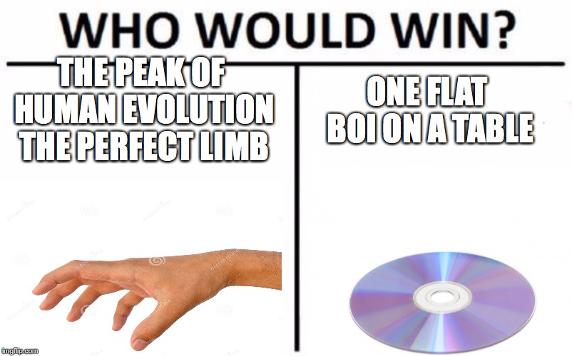 THE PEAK OF HUMAN EVOLUTION THE PERFECT LIMB ONE FLAT BOI ON A TABLE | image tagged in who would win,funny,relatable,funny memes,hands,impressive | made w/ Imgflip meme maker