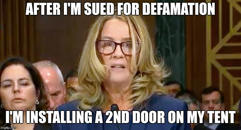 Christine Blasey Ford | AFTER I'M SUED FOR DEFAMATION I'M INSTALLING A 2ND DOOR ON MY TENT | image tagged in christine blasey ford | made w/ Imgflip meme maker