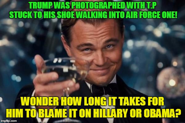 It's all the Democrat's fault! | TRUMP WAS PHOTOGRAPHED WITH T.P STUCK TO HIS SHOE WALKING INTO AIR FORCE ONE! WONDER HOW LONG IT TAKES FOR HIM TO BLAME IT ON HILLARY OR OBA | image tagged in memes,leonardo dicaprio cheers,donald trump,hillary clinton,barack obama,toilet humor | made w/ Imgflip meme maker