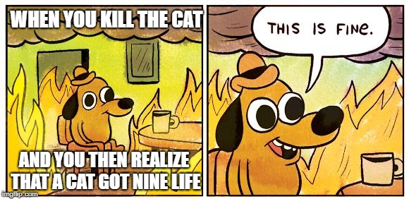 damn | WHEN YOU KILL THE CAT AND YOU THEN REALIZE THAT A CAT GOT NINE LIFE | image tagged in this is fine dog,cat,funny memes,dank memes,rip | made w/ Imgflip meme maker