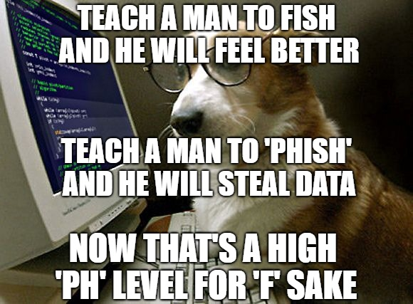 FISH OR PHISH - MAN'S BEST TREND | TEACH A MAN TO FISH AND HE WILL FEEL BETTER TEACH A MAN TO 'PHISH' AND HE WILL STEAL DATA NOW THAT'S A HIGH 'PH' LEVEL FOR 'F' SAKE | image tagged in corgi hacker,fishing,phish,ph level,data theft,teach a man to fish | made w/ Imgflip meme maker