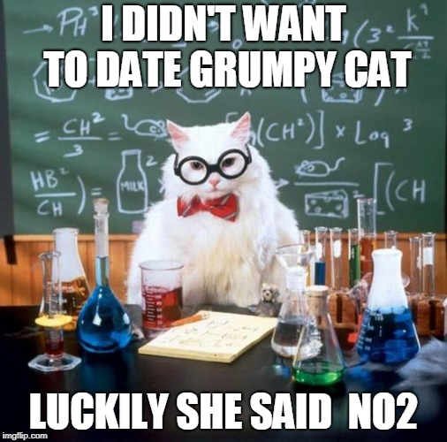 Chemistry Cat | I DIDN'T WANT TO DATE GRUMPY CAT LUCKILY SHE SAID  NO2 | image tagged in memes,chemistry cat | made w/ Imgflip meme maker