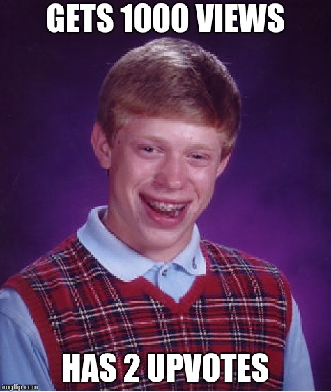 Bad Luck Brian Meme | GETS 1000 VIEWS HAS 2 UPVOTES | image tagged in memes,bad luck brian | made w/ Imgflip meme maker
