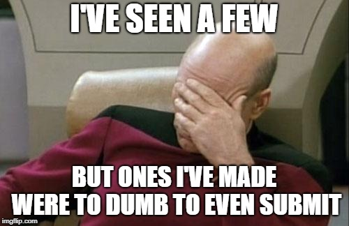 Captain Picard Facepalm Meme | I'VE SEEN A FEW BUT ONES I'VE MADE WERE TO DUMB TO EVEN SUBMIT | image tagged in memes,captain picard facepalm | made w/ Imgflip meme maker