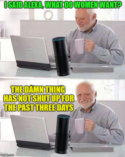 What Do They Want? | I SAID ALEXA, WHAT DO WOMEN WANT? THE DAMN THING HAS NOT SHUT UP FOR THE PAST THREE DAYS | image tagged in memes,hide the pain harold,funny,women,alexa | made w/ Imgflip meme maker