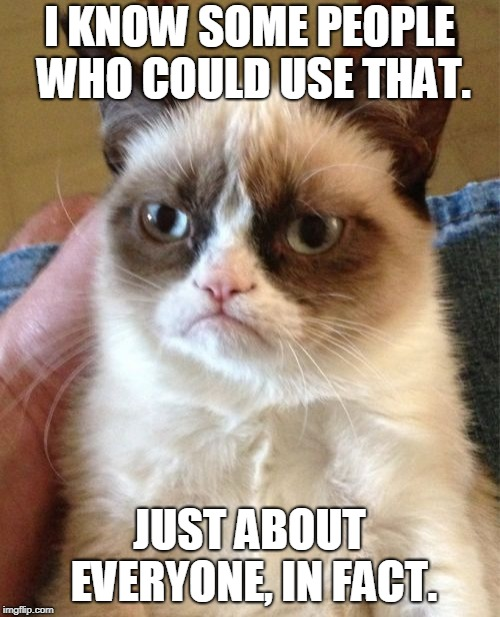 Grumpy Cat Meme | I KNOW SOME PEOPLE WHO COULD USE THAT. JUST ABOUT EVERYONE, IN FACT. | image tagged in memes,grumpy cat | made w/ Imgflip meme maker